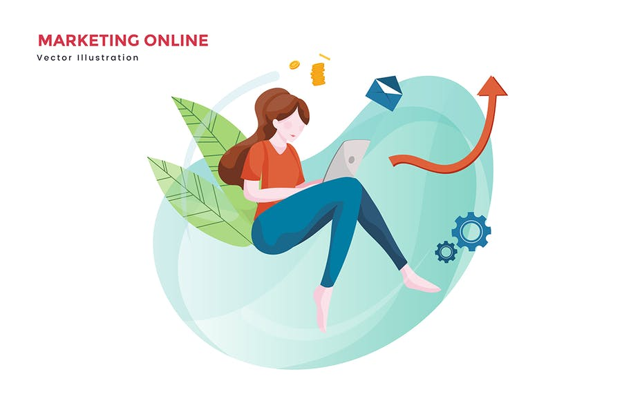 Woman online marketing vector illustration - 0