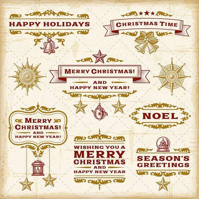 Vintage Christmas Typography Set - 0