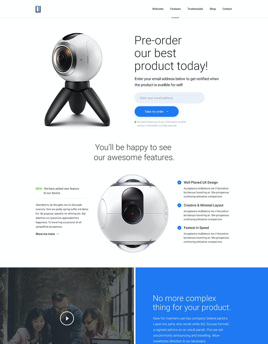 One - HTML Product Landing Page - 2