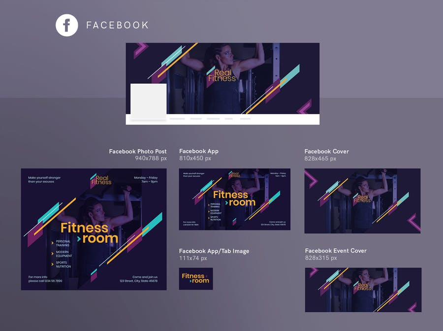 Fitness Gym Social Media Pack Template - 3