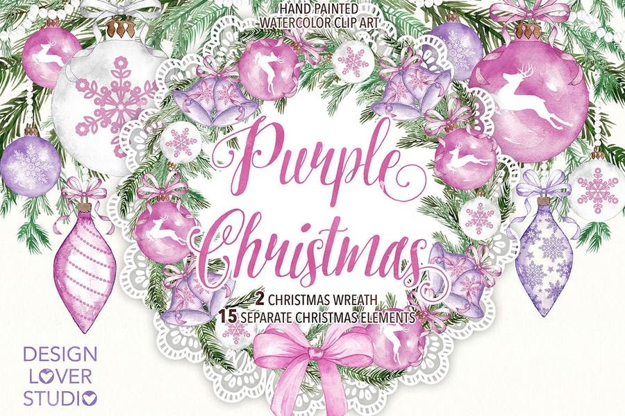 "Watercolor ""Purple Christmas"" design - 0"