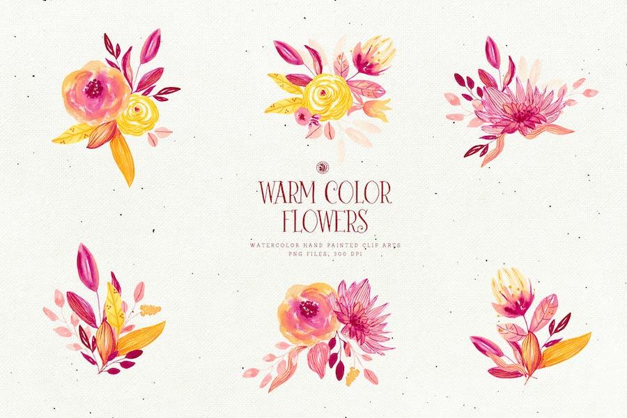 Warm Color Flowers - 3