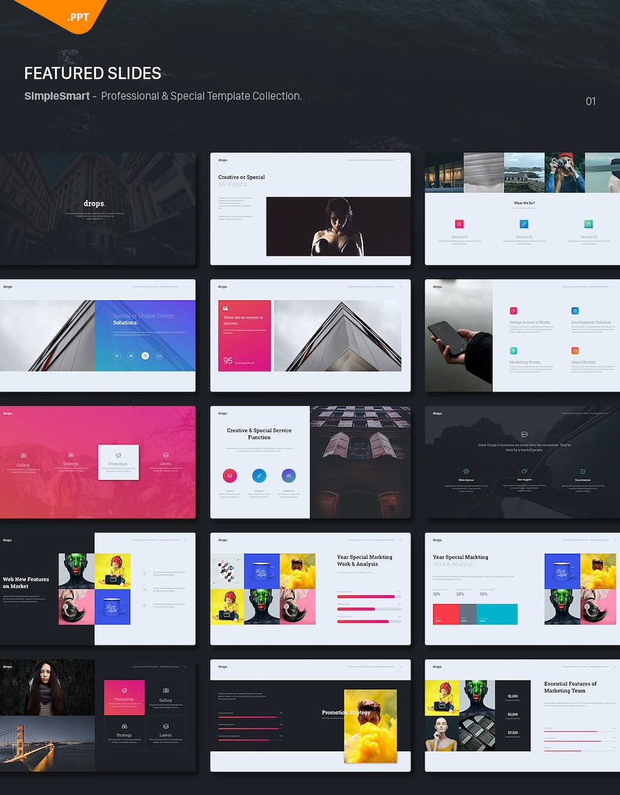 Drops - Creative & Multipurpose Theme (Powerpoint) - 0