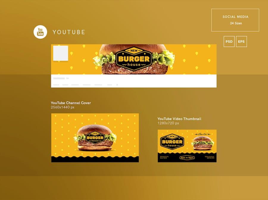 Burger House Social Media Pack Template - 0