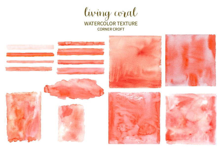 Watercolor Texture Living Coral - 0