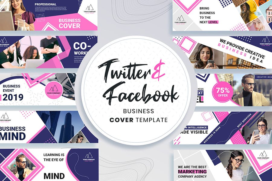 Facebook & Twitter Cover Templates - 0
