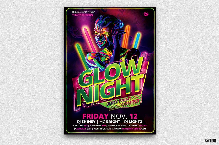 Glow Night Flyer Template - 0