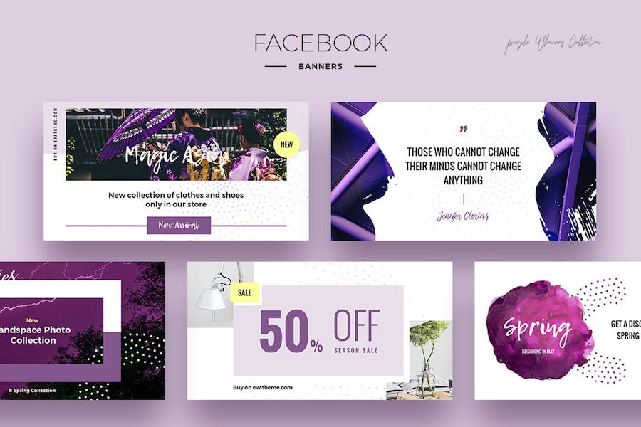 Purple Flowers Social Media Designs - 0