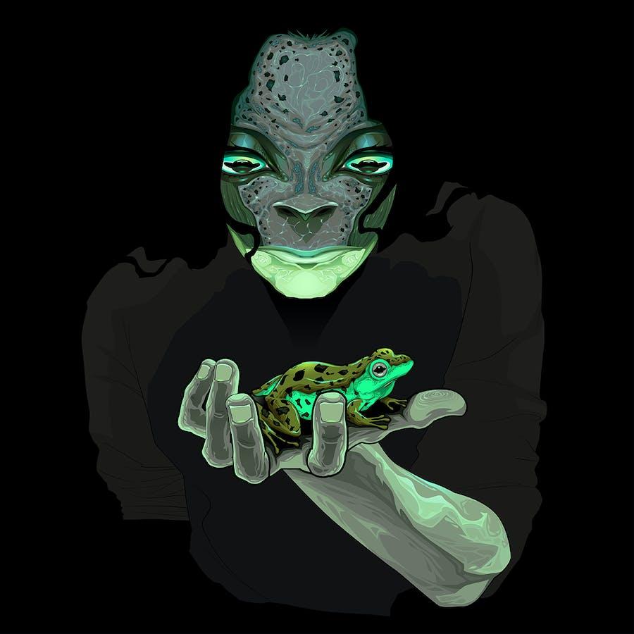 Metamorphosis Monster Guy with a Frog - 0