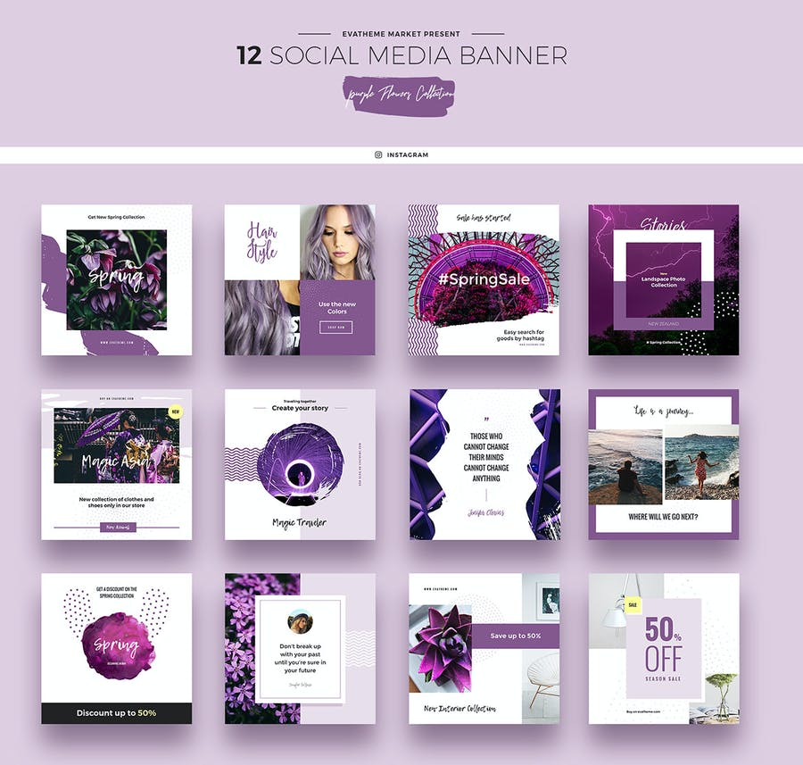 Purple Flowers Social Media Designs - 1