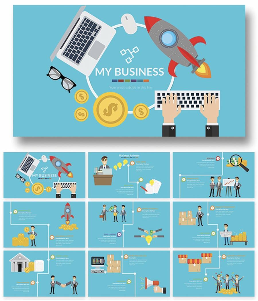 Business Animate Powerpoint Presentation  - 1