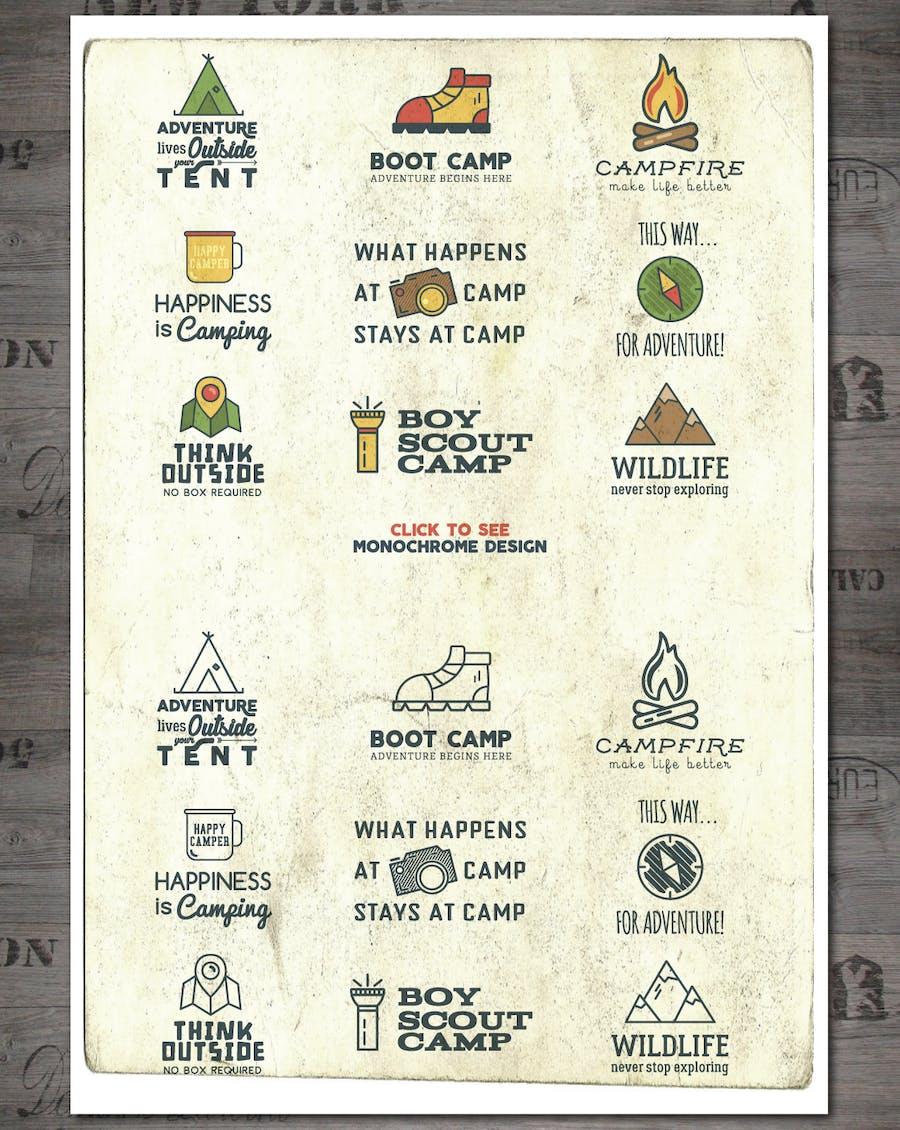 Outdoor Vintage Adventure Badges / Logo Set - 0