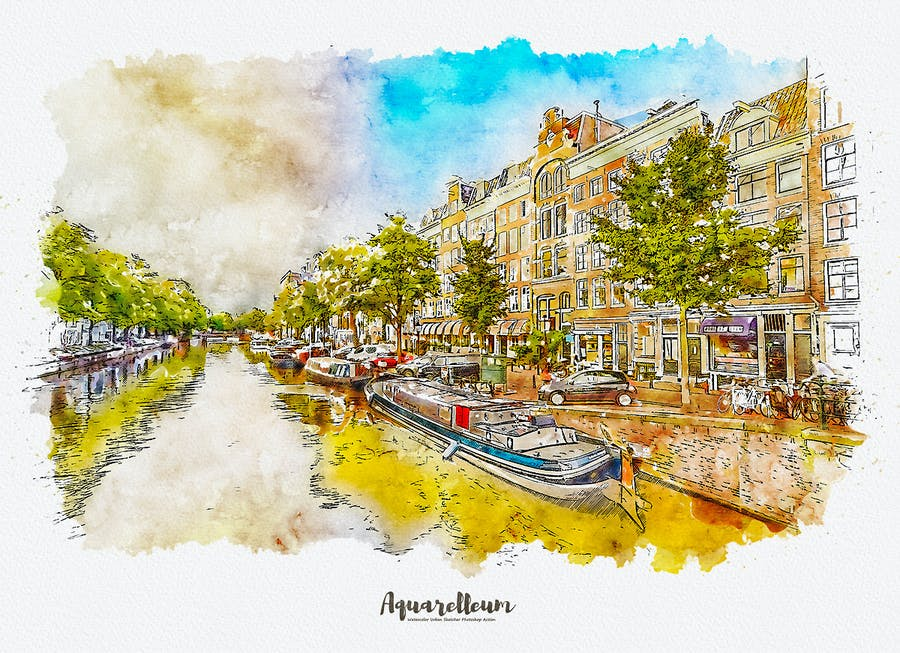 Aquarelleum - Urban Sketch Photoshop Action - 0