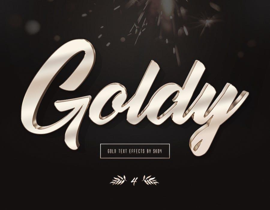 3D Gold Text Effects - 10 PSD - 2