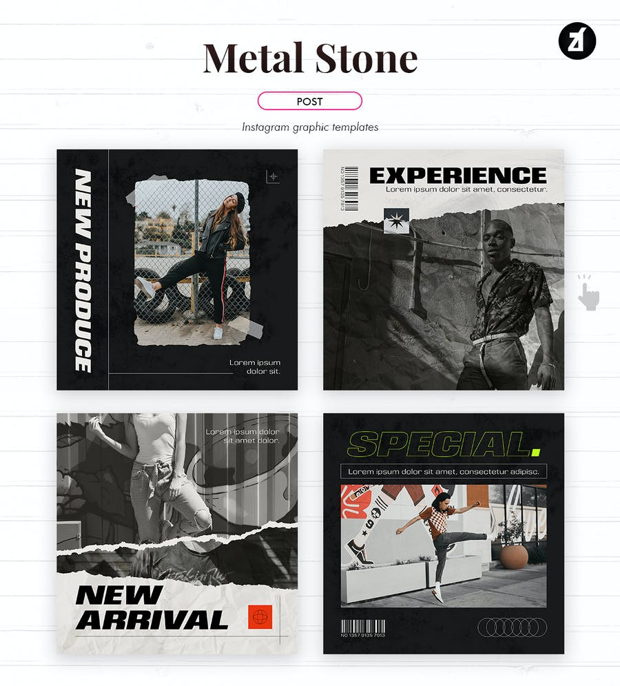 Metal stone social media graphic templates - 1
