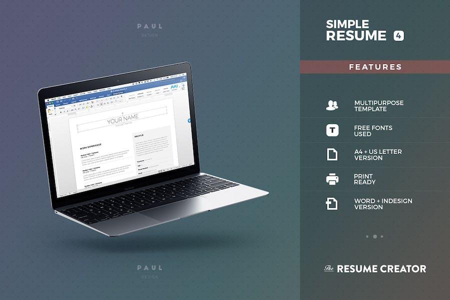 Simple Resume/Cv Volume 4 - 2