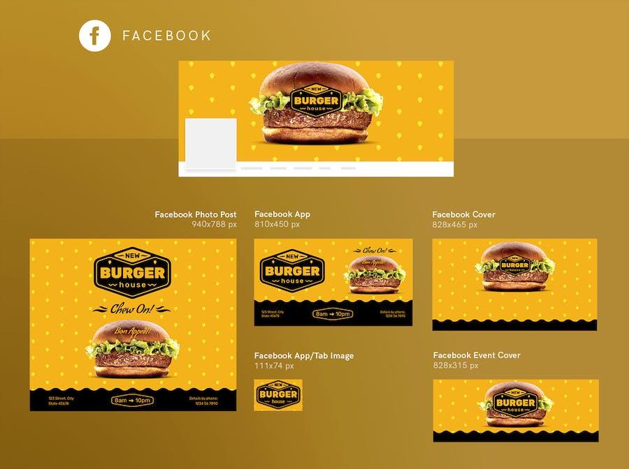Burger House Social Media Pack Template - 3