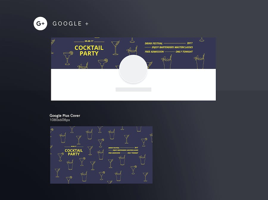 Cocktail Party Social Media Pack Template - 1