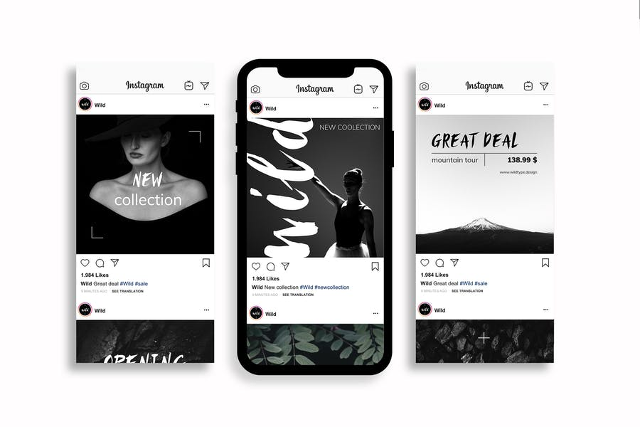 Black & White Instagram Posts Template - 0