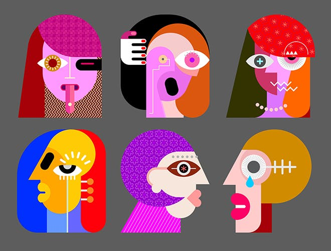 Six Faces layered vector illustration - 1