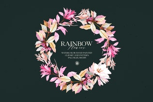Rainbow Flowers - watercolor clipart - 1