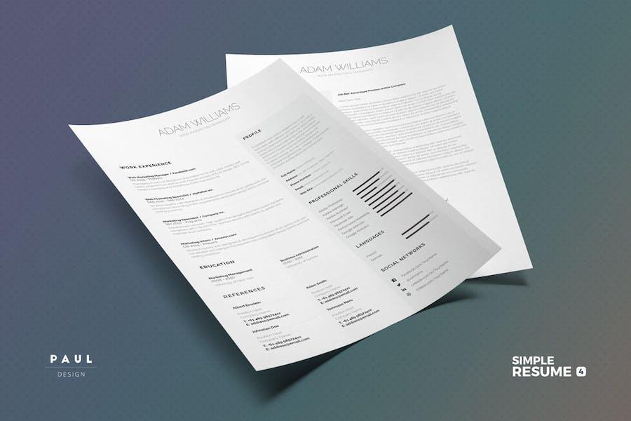 Simple Resume/Cv Volume 4 - 0