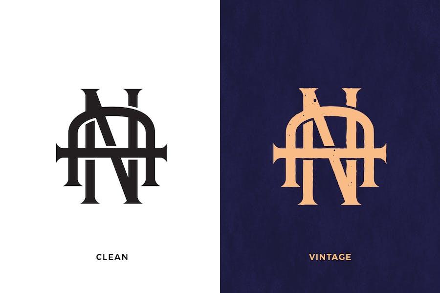 AN Vintage Monogram Logo - 0