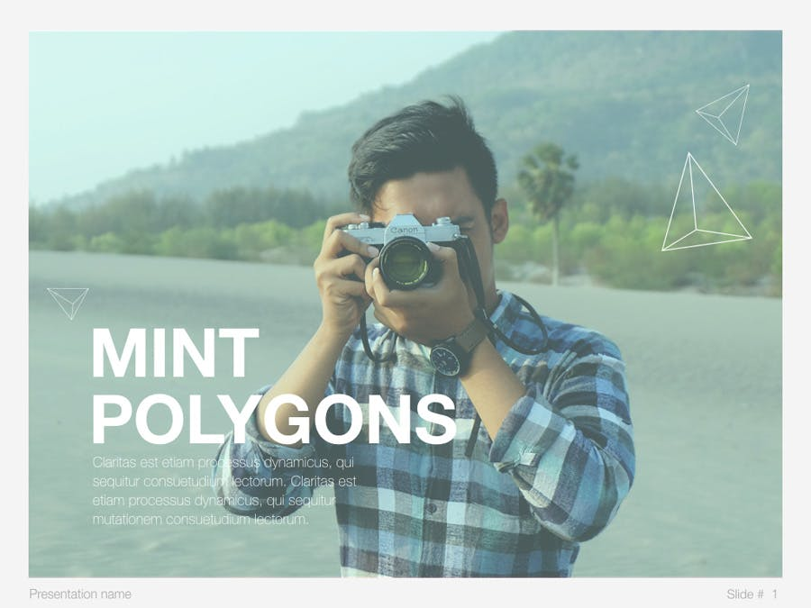 Mint Polygons Keynote Template - 0