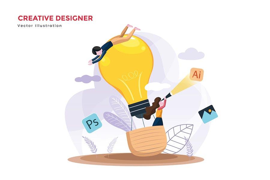 Creative designer teams vector illustration - 0