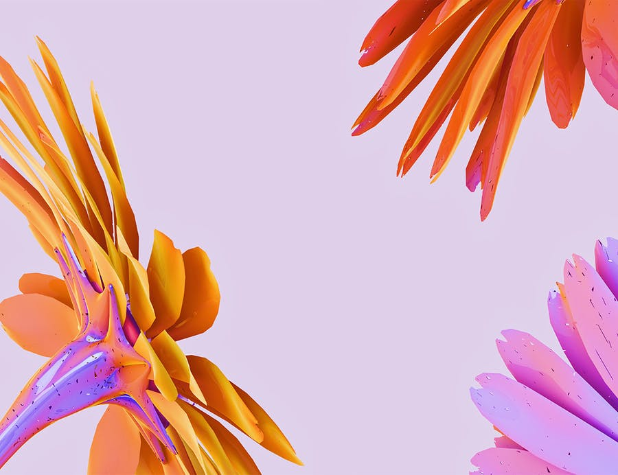 Holographic Flowers Abstract Backgrounds - 1