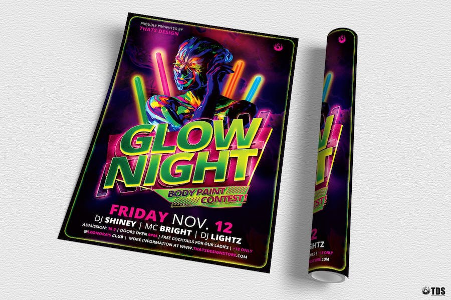 Glow Night Flyer Template - 1