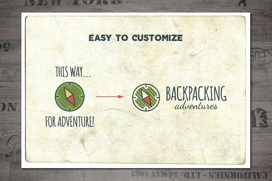Outdoor Vintage Adventure Badges / Logo Set - 2