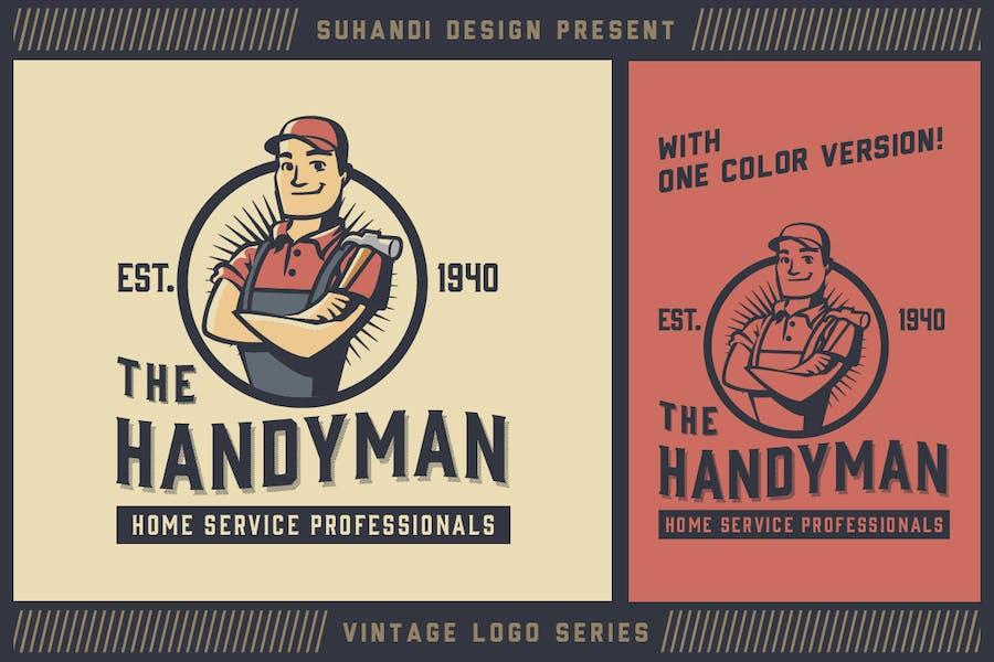 Vintage Handyman Mascot Logo - Vintage Logo Series - 0