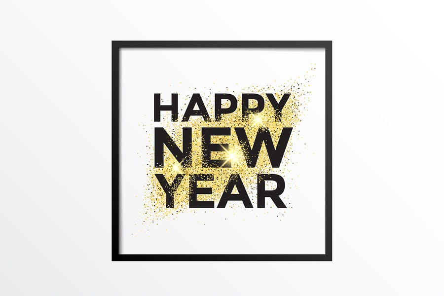 Gold glitter New Year greeting card - 0