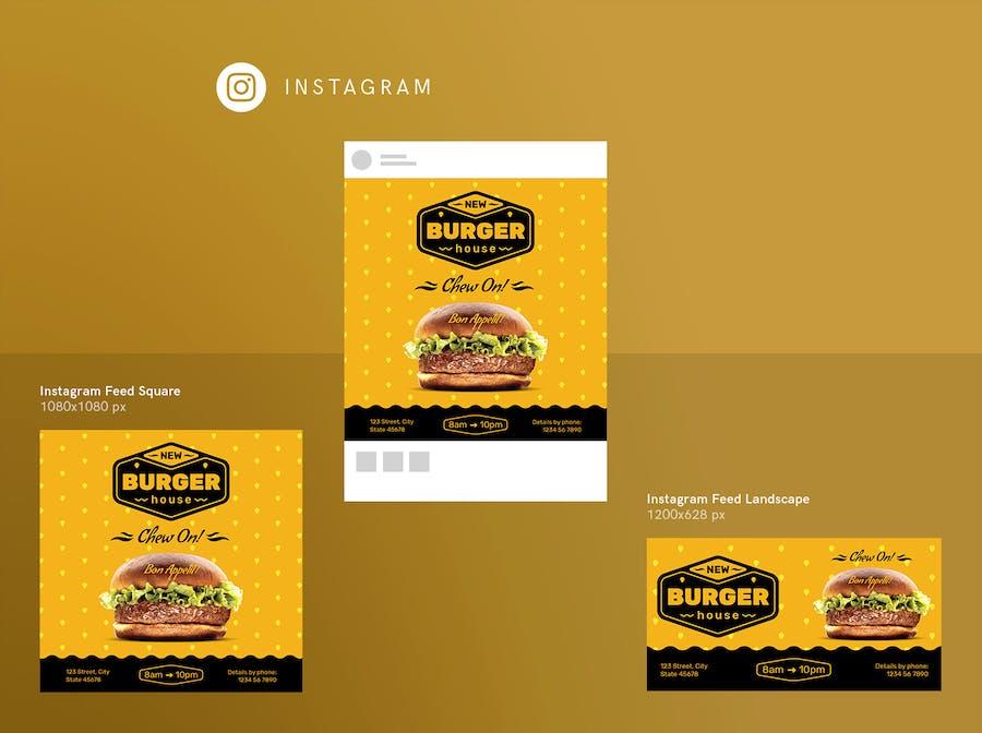 Burger House Social Media Pack Template - 1
