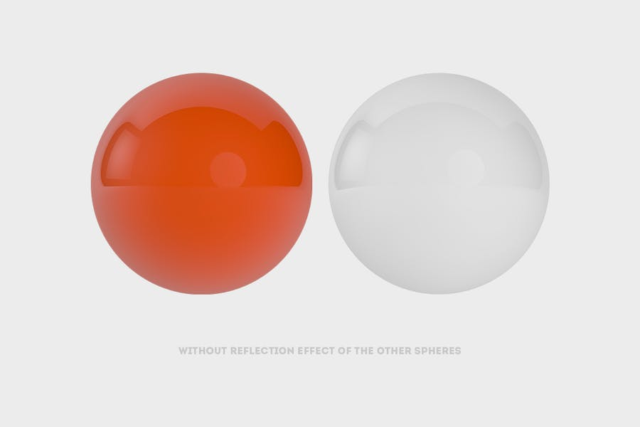 Abstract 3D rendering of Spheres | White  + Orange - 3