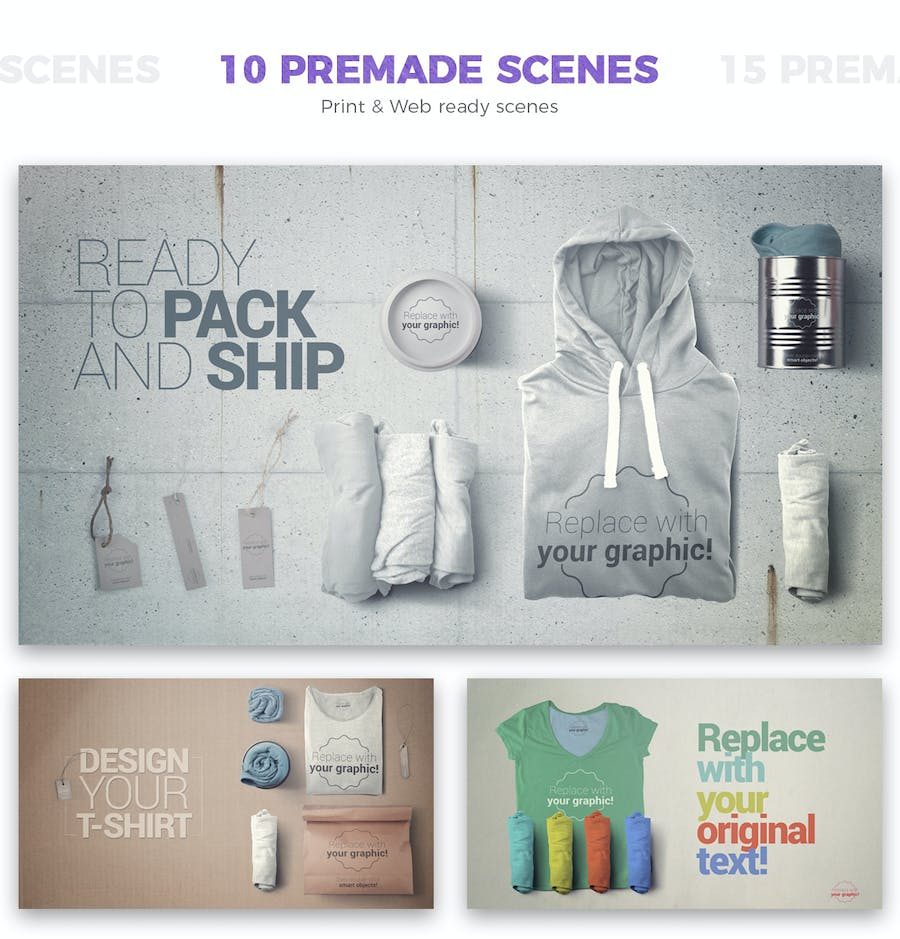 T-shirt and Packages Mockups & Scene Generator - 0