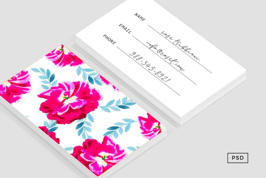 Fluorescent Florals Business Card - 0