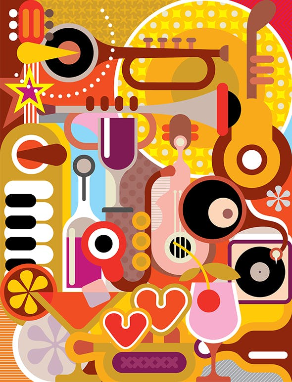 Abstract Music Collage vector illustration - 0