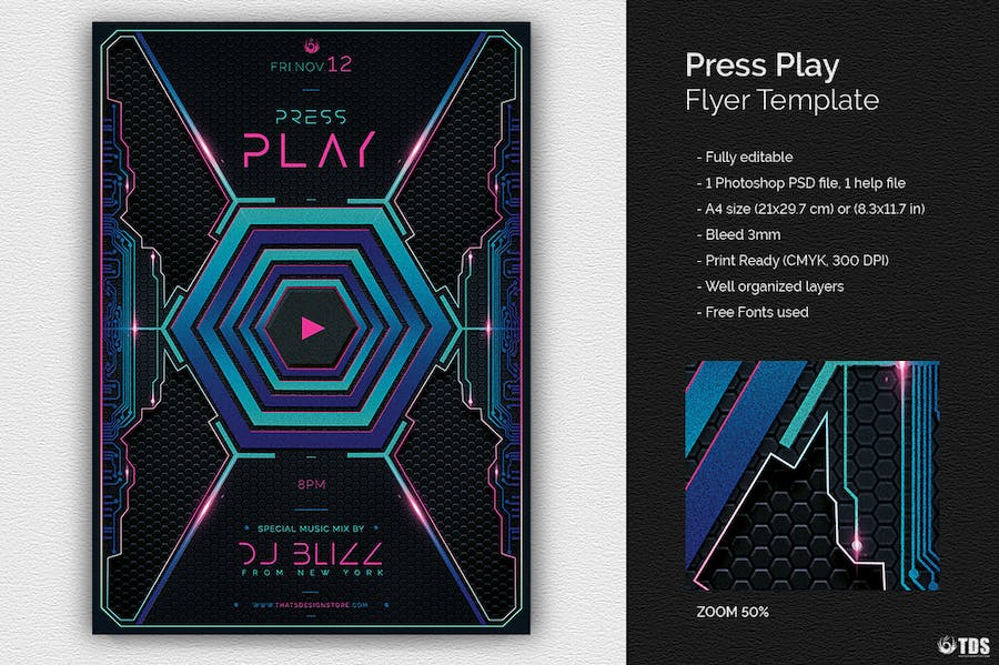 Press Play Flyer Template  - 0