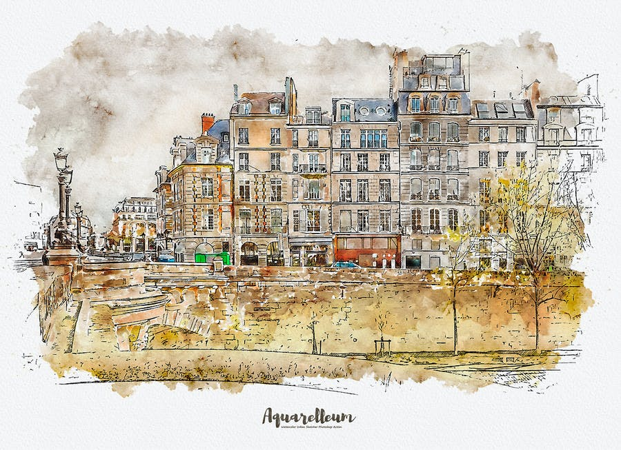 Aquarelleum - Urban Sketch Photoshop Action - 1