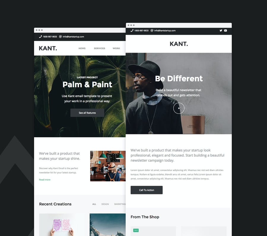Kant - Responsive Email for Startups 50+ Sections - 1