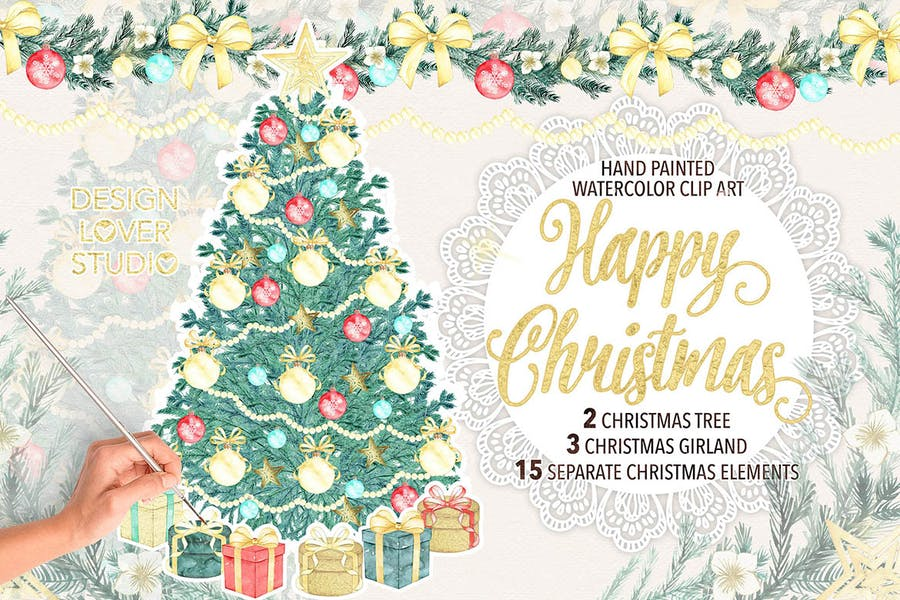 "Watercolor ""Christmas tree"" design - 0"