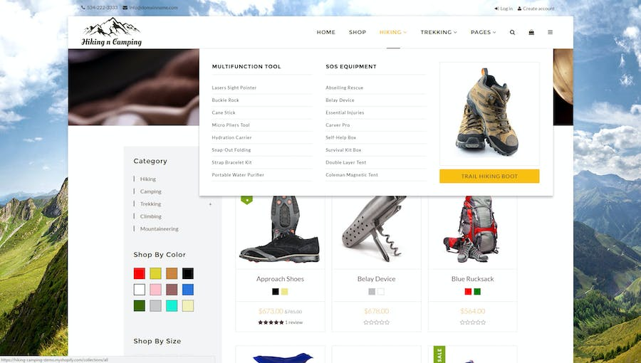 Hiking & Camping- Outdoor, Adventure Shopify Theme - 2
