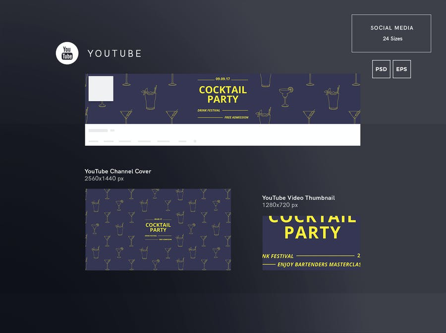 Cocktail Party Social Media Pack Template - 0