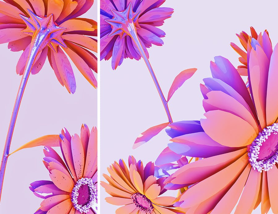Holographic Flowers Abstract Backgrounds - 2