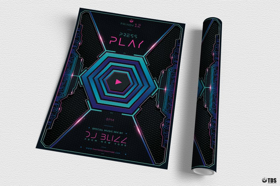 Press Play Flyer Template  - 1