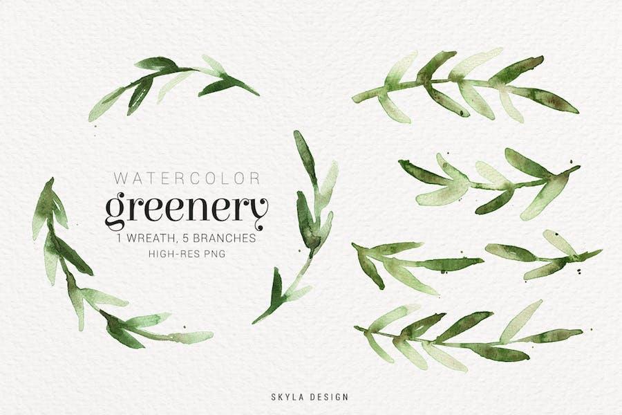 Watercolor greenery - 0