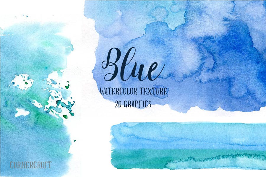 Watercolor Texture Blue - 3