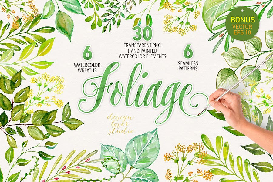 Watercolor foliage collection - 0
